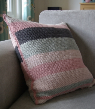 Moss stitch colour block cushion